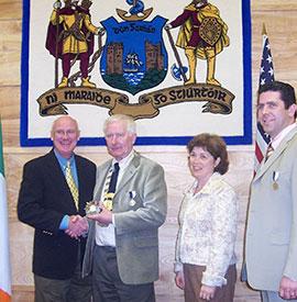 Tim and Diane meet the mayor in Dungaravan, Ireland.