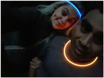 Photo: glow stick selfie